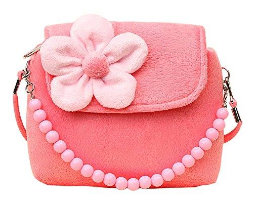 Kleinkind-mädchen Modische (Cosanter Kinderrucksack Mini Handtasche Süß Kinder Backpack mit Plüsch Blumen für Mädchen Rosa)