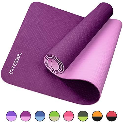 arteesol Gymnastikmatte, Yogamatte rutschfest Phthalatfrei Hypoallergen Fitnessmatte für Yoga Pilates Fitness & Gymnastik Training mit Tragegurt, 183 cm x 61 cm x 6 mm