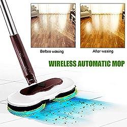 JH&MM Fregona inalámbrico de Mano eléctrico Gira 360 Grados para Todas Las Superficies - fregonas Reutilizables para mopas de Suelo más limpios para el Pulido