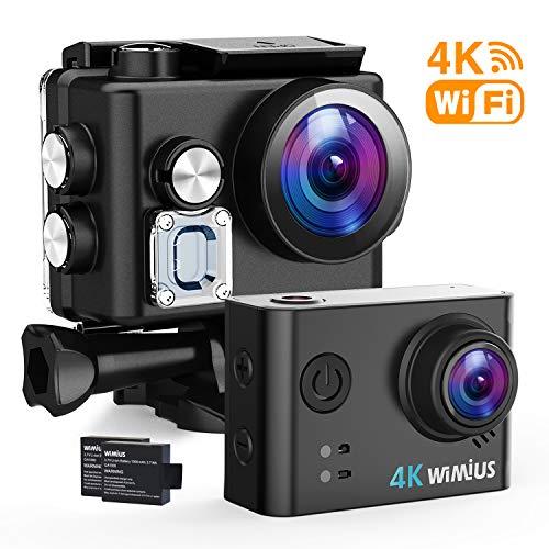 WiMiUS 4K Action Kamera WiFi Action Cam HD Actioncam 1080P 16MP Sport Kamera 40M Wasserdichte Helmkamera mit 2 Akkus(Q6 schwarz)