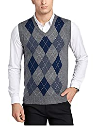 Herren V-Ausschnitt Business Argyle Muster Pullunder Pullover Stricken Weste 898efe57b5