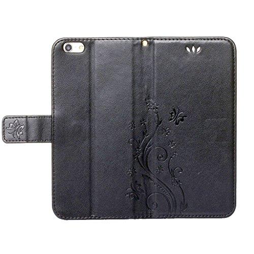 """iPhone 7 Plus Hülle Schwarz , Leathlux Vintage Blume Muster Premium PU Leder Schutzhülle Bookstyle Tasche Schale TPU Case mit Trageschlaufe Standfunktion für iPhone 7 Plus 5.5"""" Schwarz"""