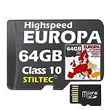 EUROPA Karte Topo Höhenlinien 64 GB microSD für Garmin und MAC und PC NEUWARE