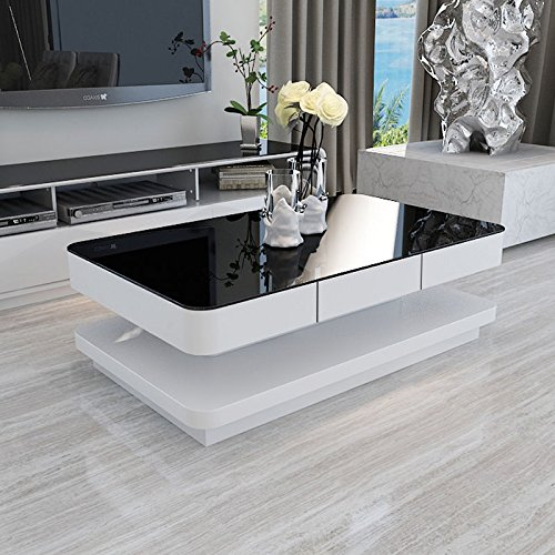 UEnjoy Modern Black Tempered Glass Top White Gloss Coffee Tables For Living Room Furniture High Gloss (2 level White&Black)