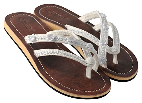 Amboss Damen Sandalen mit Echt Leder Gr.36-43 Weiß