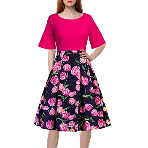 Women Dress,  Familizo 2018 New Women's Vintage Floral Patchwork A-Line Dress Sexy Half Sleeve Casual Evening Party Dress Fashion Printed O-Neck Knee-Length Skirt