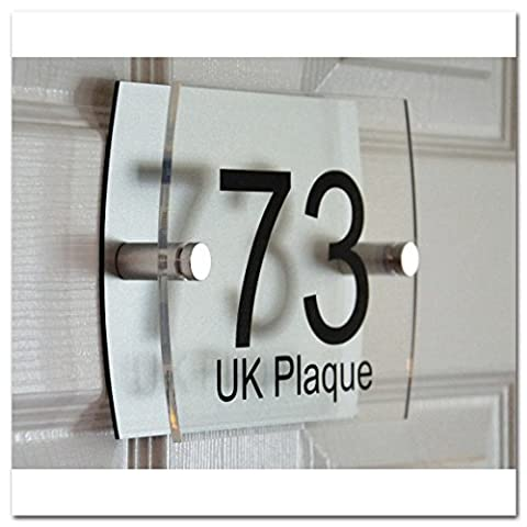 Left Right Rounded Rectangle Double Paste BLACK TEXT Effect | Modern Design Personalised Crystal Clear Acrylic Plaque & Silver Aluminum Decorative Back Plate House Numbers Signs | Street Name Signs | House Name Plaques | House signs | Door Plaques (4 Font Styles To