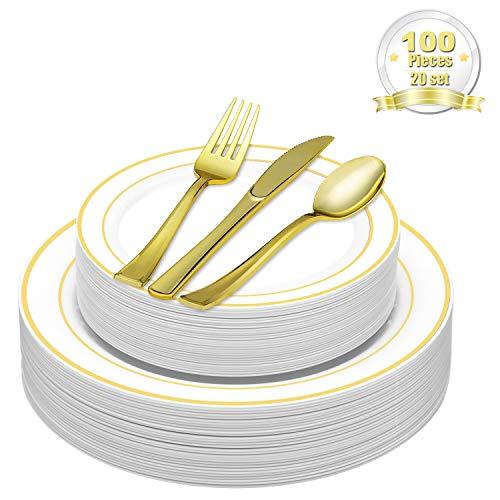 DRROT 100-Teilig Elegante Premium Besteck Set & Plastik Einwegteller - Premium Set Beinhaltet 20 Speiseteller + 20 Salatteller + 20 Messer + 20 Gabel + 20 Löffel (Gold) (Einfachheit Besteck Set)
