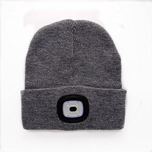 Oumeiou NEUF chaud lumineux avec LED Lampe frontale rechargeable Bonnet Casquette unisexe Chapeau Multicolore - noir