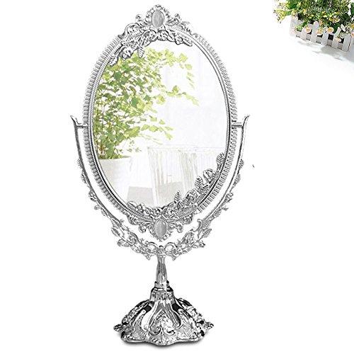 KINGFOM Drehenden Kreisförmigen Doppelseitiger Kosmetikspiegel (Groß), Sillver
