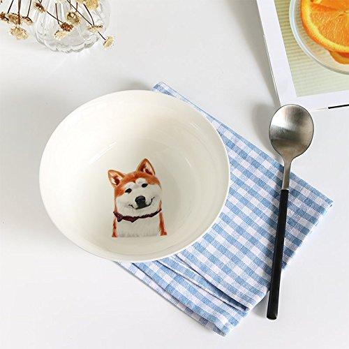 YUWANW Kreative Akita Hund Asiatischen Continental Keramik Geschirr Kleine Suppe Schüssel Reis Schüssel Home Schalen Von Dessert Runden Schüssel -