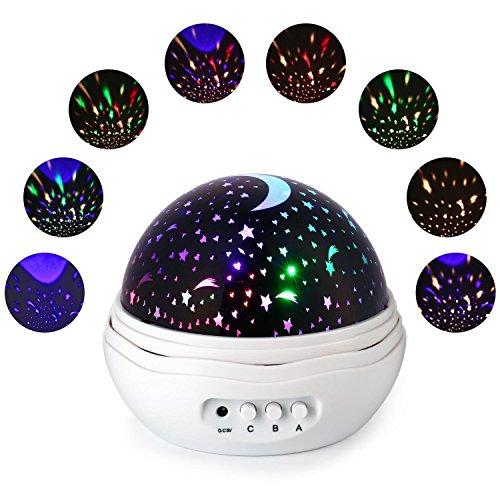 Qedertek Baby Nachtlicht, Sternenhimmel Projektor Beleuchtung, 4 LED, 360° Drehbare, USB/Batterie Betrieben, für Haus, Schlafzimmer, Kinder Zimmer, Hochzeit, Geburtstag, Party (Weiß)
