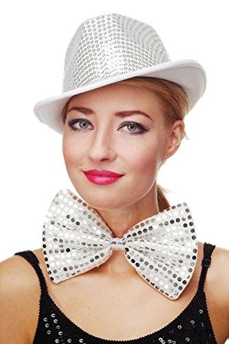 DRESS ME UP - Fliege Clownfliege Clown groß Bowtie weiß Glitzer Pailletten Riesenfliege VQ-029-white