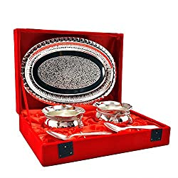 Silver Plated Handi Bowl,Tray With Spoon Set Of 5 Pcs.