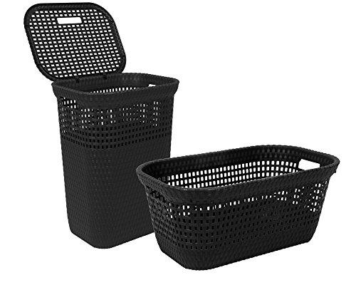 Ondis24 2 praktische Wäschekörbe im Set! gut belüftet mit einem Klappdeckel aus hochwertigem Kunststoff in Rattan Optik Wäschekorb Set 40 L + 60 L anthrazit (Wäschekorb-set)