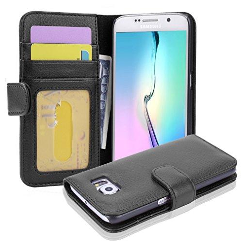 Cadorabo - Book Style Hülle für Samsung Galaxy S6 (SM-G920F NICHT für EDGE) - Case Cover Schutzhülle Etui mit 3 Kartenfächern in OXID-SCHWARZ