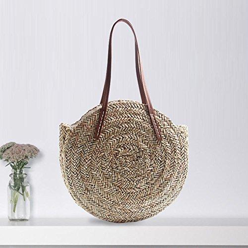 Fancylande - Moderno bolso redondo de ratán y bambú con asa ideal para la playa, viajes, vacaciones, o como regalo