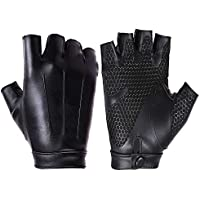 Lyq&st Leather Gloves Autumn And Winter Half Finger Gloves Riding & Fitness Gloves Wear Vintage Washed Leather Sports Gloves (black, Men & Women)