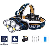 Headlight, iToncs LED Headlamp USB Rechargeable Head Torch 8 Modes with Red Warning Light, Bright Head Lamp Head Torch Light for Running Camping Hiking Fishing (Include 2 * 18650 Batteries)