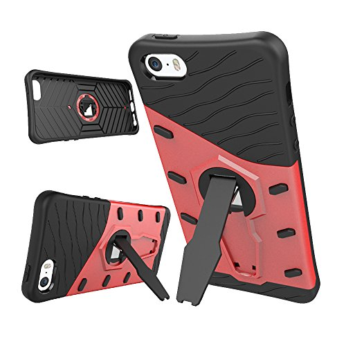 "Skitic Stoßfest Armor Case für iPhone 6 Plus / 6S Plus 5.5"", 2 in 1 Hybride Tough Heavy Duty Rugged Shockproof Dual Layer Hart PC + Soft TPU Schutzhülle Etui Back Cover Bumper mit 360 Grad Drehung Kic Rot"