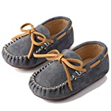 Mädchen Jungen Mokassins Wildleder Rutschfest Lauflernschuhe Kinder Loafers Baby Schuhe mit Weich Sohle für Frühling Sommer,Grau 26