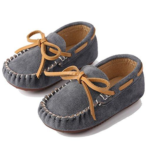 Katliu Mädchen Jungen Mokassins Wildleder Rutschfest Lauflernschuhe Kinder Loafers Baby Schuhe mit Weich Sohle für Frühling Sommer,Grau 19 (Loafer Bootsschuhe)