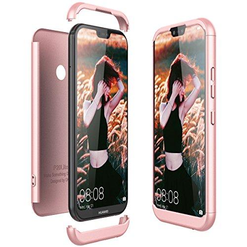 Huawei P20 Lite Hülle, CE-Link Hardcase 3 in 1 Handyhülle Ultra Dünn 360 Grad Full Body Schutz Backcover Schutzhülle Anti-Kratzer Bumper - Rose Gold - Links Hand Rose