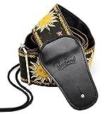 BestSounds Gitarrengurt, 6cm breit, Volksmusik-Stil, Baumwolle gewebt / geflochten, Gurt für E-Gitarre, Enden aus echtem Leder Apollo Black