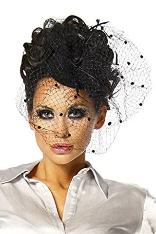 Haarschmuck mit Schleier für Kostüm Karneval Fasching oder Burlesque -