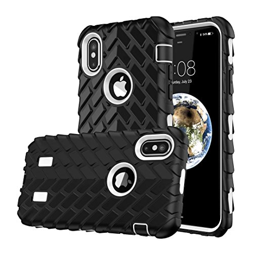 iPhone X Hülle, Lantier Dual Layer Armor Soft Rubber Hard Hybrid Tire Stripe Combo High Impact Heavy Duty Silicone Bumper Shockproof Defender Case Cover für Apple iPhone X Weiß