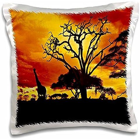 Island Swag Designs Africa - African Giraffe on African Plains at Sunset, Animal Safari Africa - 16x16 inch Pillow Case