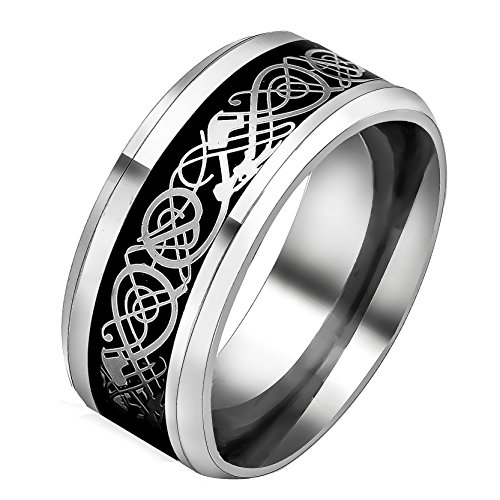 Männer Ring-amethyst (Männer Silber Überzogene Dragon Band Schwarz Edelstahl Ringe für Männer Frauen Eheringe)