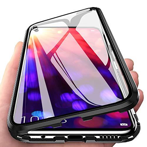 Eabhulie Huawei Honor View 20 Hülle, Vollbildabdeckung Gehärtetem Glas mit Magnetischer Adsorptionskasten Metall Rahmen 360 Grad Komplett Schutzhülle für Huawei Honor View 20 Schwarz