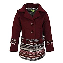 Cutecumber Girls Coat Fabric Embellished Maroon Jacket AM-2476J-MAROON-34
