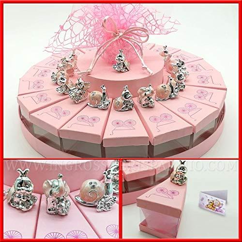 Ingrosso e risparmio torta in cartoncino rosa e pvc con decori carrozzina da 18 fette femminuccia e animaletti coccinella lumaca elefante nascita bambina (elefante senza confetti)