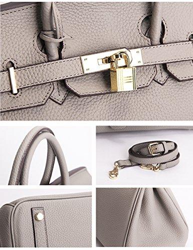 Menschwear Damen Echtes Leder Handtasche Elegant Taschen 35cm Grau Grau S
