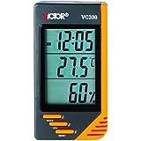 Victor Vc330Digital LCD Thermomètre Hygromètre Intérieur Horloge humidité Mètre Orange Mini Taille