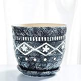 XHZJ Vaso in ceramica da tavolo con vassoio, vassoio in ceramica con vaso di fiori creativo super grande, semplice vaso di fiori in gres verde in gres (Dimensione : Medium size)