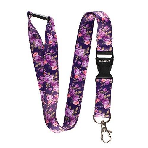Mehrfarbig Schlüsselband Umhängeband Trageband mit Sicherheitsverschluss und Schwenk Karabinerhaken(1 violett mit Blumen)