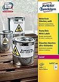 Avery Zweckform L4773-100 Wetterfeste Folien-Etiketten (A4, 2.400 Stück, 63,5 x 33,9 mm) 100 Blatt weiß
