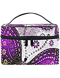 COOSUN Bolsa de púrpura violeta de la mariposa cosmética lienzo Viaje Neceser Top Mango de una