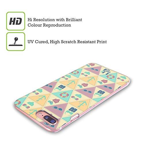 Head Case Designs Rosa E Verde Estate Nautica Cover Retro Rigida per Apple iPhone X Porpora E Azzurro