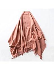 Ms primavera e invierno largo rojo puro All-Match Mantón bufanda de lana gruesa y aire acondicionado en verano.,Polvo naranja