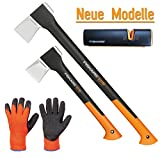 FISKARS© Set Spaltaxt X21 - L + X11 - S + Xsharp Axt- und Messerschärfer + Handschuhe
