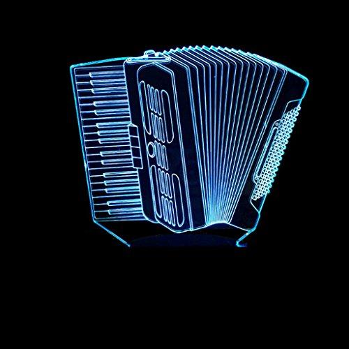 3D Akkordeon Kleine Nachtlicht Bunte LED Acryl Panel 3D Stereo Vision USB Buchse Fernbedienung Touch-schalter Mode Persönlichkeit Kleine Schreibtischlampe (größe : Touch) -