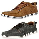#10: T-Rock Men's Combo Pack Sneakers Black & Tan Casual Shoes