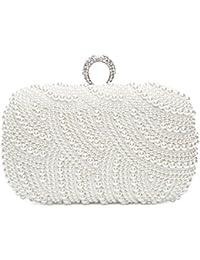 Bolsa de Embrague para Fiesta Boda Novia Bolso de Mano Nupcial Diseño con Perlas Wedding Bag Cartera…