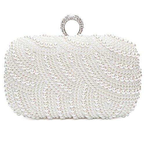 Damen Elegant Handmade Zweiseitig Perlen Beaded Clutch Brauttasche Unterarmtasche Party Hochzeit Abendtasche, Weiß