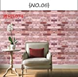 REAGONE Wall Paper Selbstklebendes moderne Toilette Heim Schrankwand Live-Large Volume Farbe Hintergrund Familie Öl-Pastell-Farben ungiftige und 10 M 5074 Retro Ziegel, Large619257