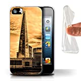 eSwish Coque Gel TPU de Coque pour Apple iPhone 5/5S / Shard Paysage Ville Design/Londres Royaume-Uni Collection